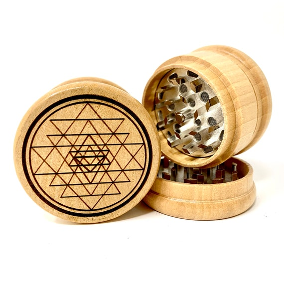 Sri Yantra Sacred Geometry - Herb Grinder Weed Grinders Tobacco Spices 3 piece all wood set with sharp blades and sieve FREE SHIPPING