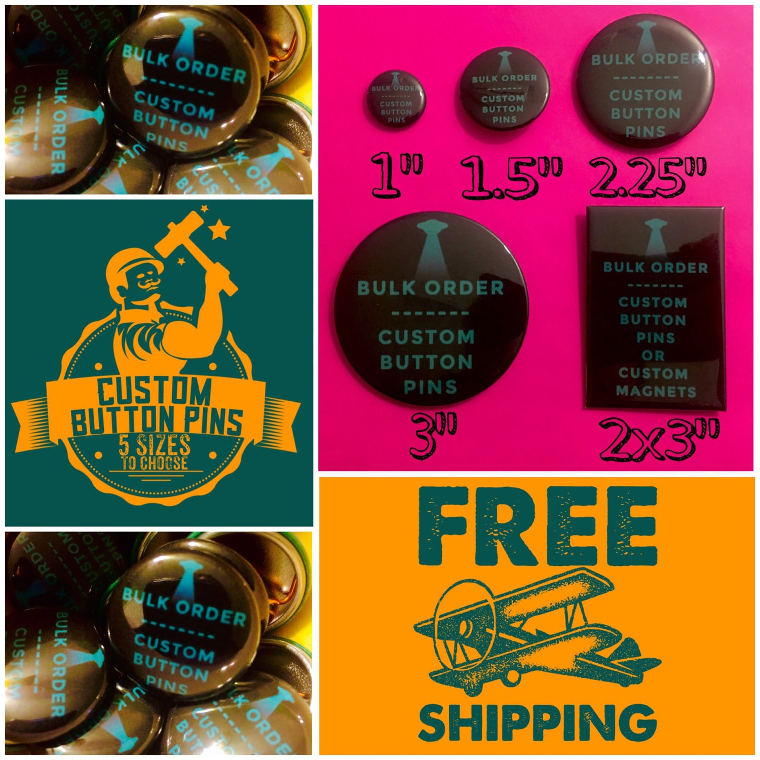 single custom button or magnet multiple sizes to choose from free
