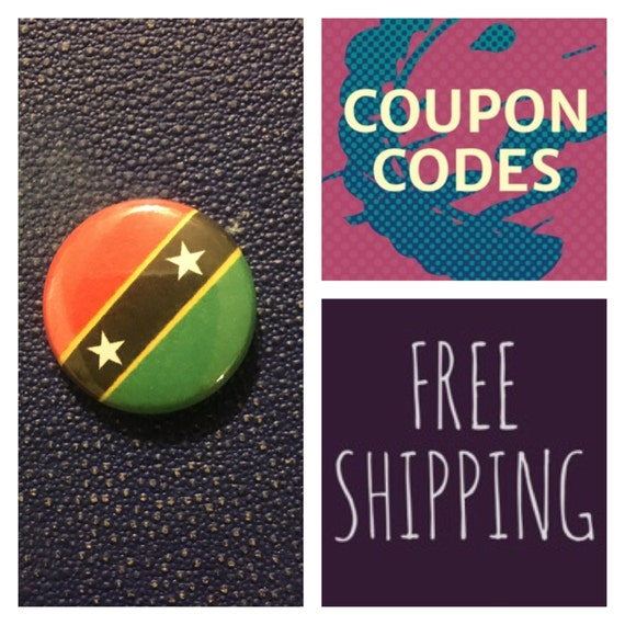 St. Kitts and Nevis Flag Button, FREE SHIPPING