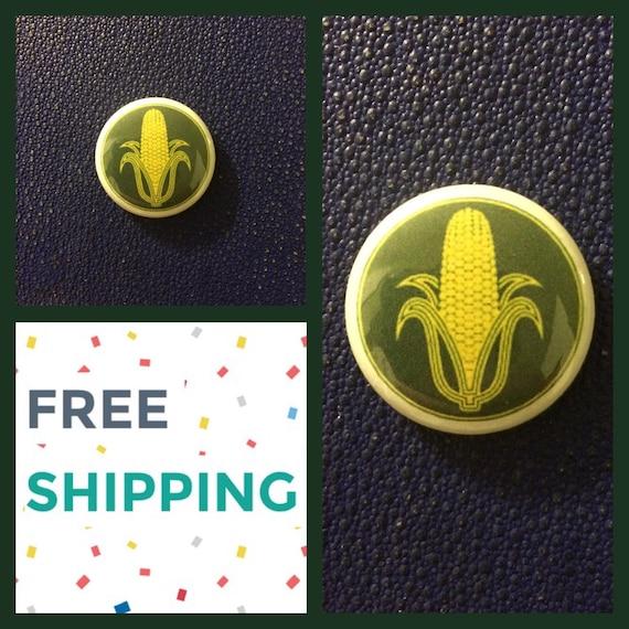 Yellow Corn Button Pin , FREE SHIPPING
