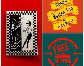 "Ska Music Dancers 2x3"" Button Pin or Magnet, FREE SHIPPING & Coupon Codes"