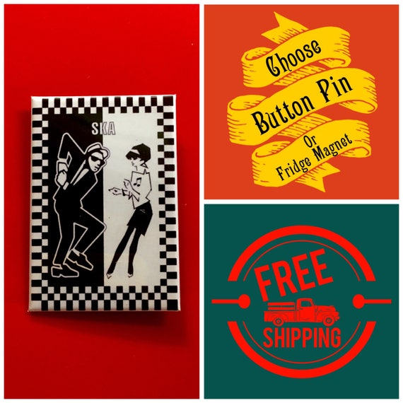 """Ska Music Dancers 2x3"""" Button Pin or Magnet, FREE SHIPPING"""