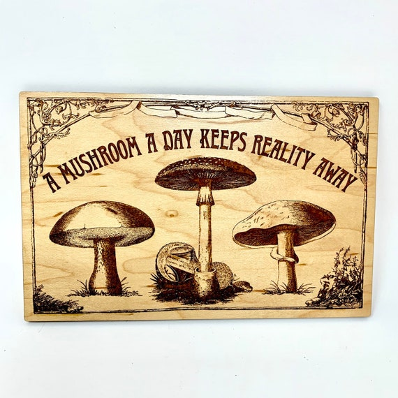Psychedelic Magic Mushroom Laser Cut Wall Art Sign, FREE SHIPPING