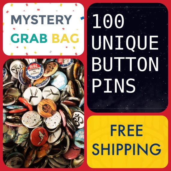 59 cents ea: Mystery Grab Bag of 100 Buttons Pins, FREE SHIPPING,