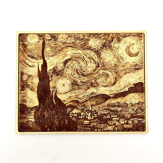 Van Gogh Starry Night Art Piece Engraved in Wood, FREE SHIPPING