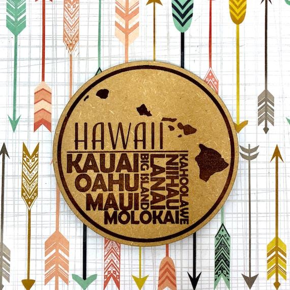 Drink Coasters - Hawaiian Island Names Wood Drink Coaster Set Home Decor Unique Gifts Housewarming Gift