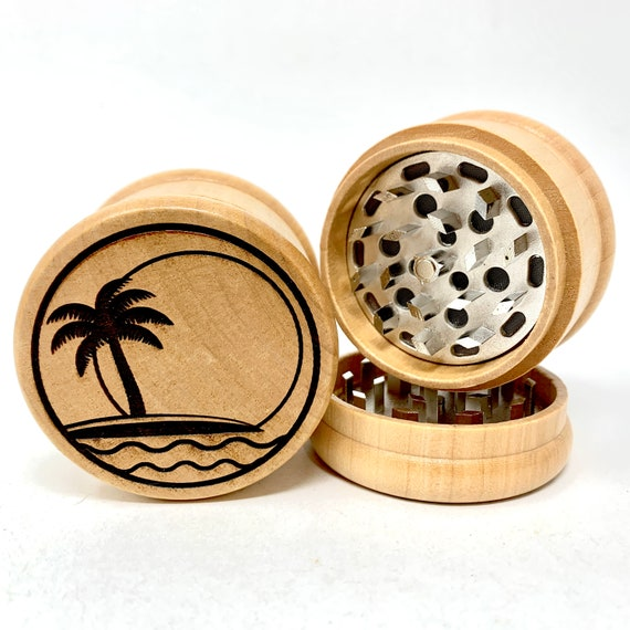 Herb Grinder - Island Scene - 3pc Herb Grinders Herb Cutter Cutting and Grinding Metal Blades 2.5 Inch Travel Size
