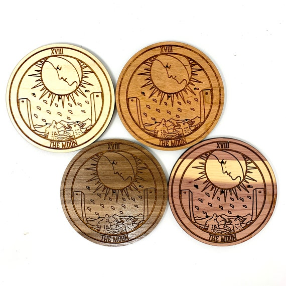 Incense Holder - Tarot Card 18 The Moon Incense Burner for Incense Sticks, Wood Incense Stick Holders for Aromatherapy Meditation Aid
