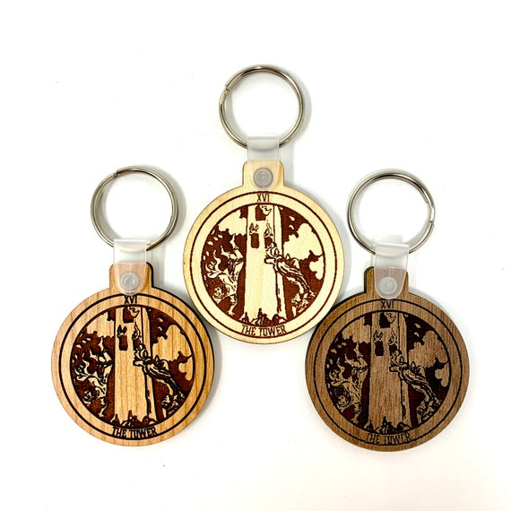 16 - The Tower - Tarot Deck Card Wood Key Chain w Key Ring, FREE SHIPPING