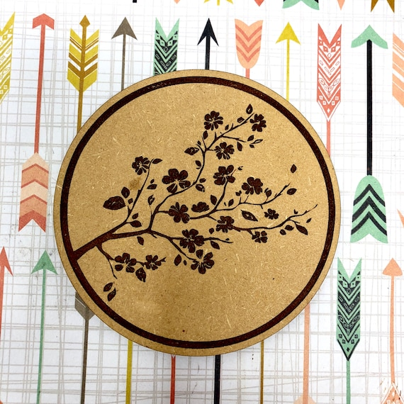 Drink Coasters - Japanese Cherry Blossom Wood Drink Coaster Set Home Decor Unique Gifts Housewarming Gift