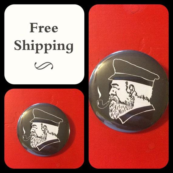 Ship's Captain w/ Pipe Button Pin, FREE SHIPPING