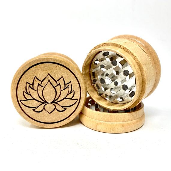 Herb Grinder - Lotus Flower Simple Art Design - 3pc Herb Grinders Herb Cutter Cutting and Grinding Metal Blades 2.5 Inch Travel Size