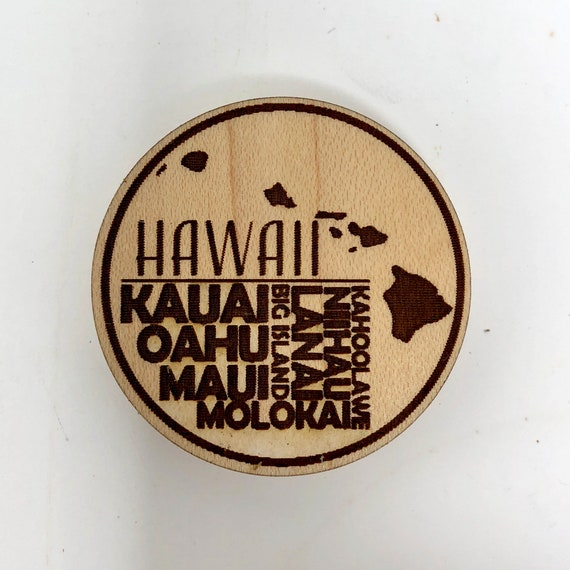 Wood Magnet - Hawaiian Island Names Fridge Magnet, FREE SHIPPING