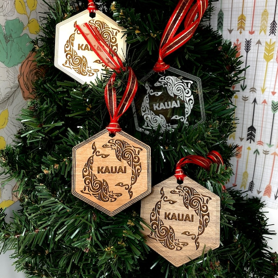 Kauai Dolphins Hawaiian Christmas Tree Ornament, FREE SHIPPING
