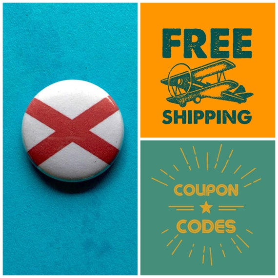 Alabama State Flag Button Pin or Magnet, FREE SHIPPING