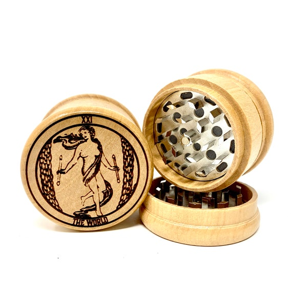 21 Tarot Deck Card - The World - Herb Grinder Weed Grinders Tobacco Spices 3 piece all wood set sharp blades w/ sieve FREE SHIPPING