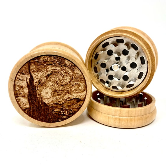 Herb Grinder - Van Gogh Starry Night - 3pc Herb Grinders Herb Cutter Cutting and Grinding Metal Blades 2.5 Inch Travel Size