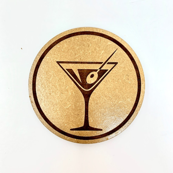 Drink Coasters - Martini Glass Wood Drink Coaster Set Home Decor Unique Gifts Housewarming Gift