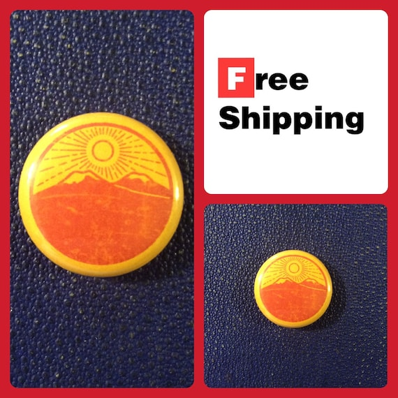Sunrise over Mountain Wilderness Button Pin, FREE SHIPPING