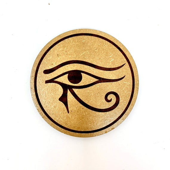 Drink Coasters - Egyptian Hieroglyphics Eye of Horus Symbol Eye of Ra Sign Wood Drink Coaster Set Home Decor Unique Gifts Housewarming Gift