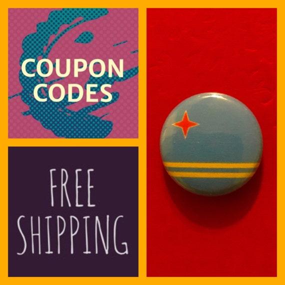 Aruba Flag Button Pin, FREE  SHIPPING