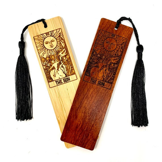 Wood Bookmark - Tarot 19 - The Sun - Bookmarks Bamboo or Rosewood, Engraved Real Wood Gift for Students or Friend
