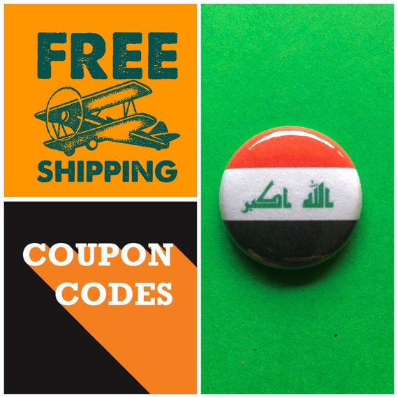 Iraq Flag Button Pin or Magnet, FREE SHIPPING