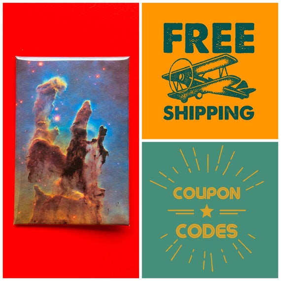 "Pillars of Creation, Hubble Telescope Photo 2x3"" Button Pin or Magnet, FREE SHIPPING"