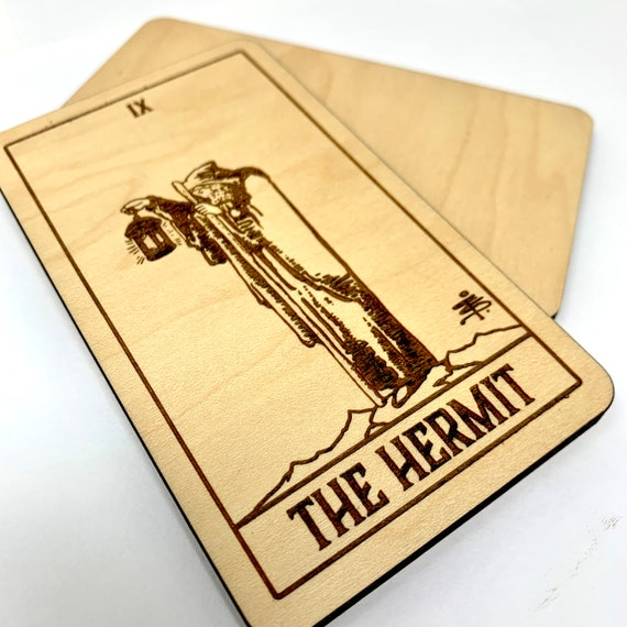 09 The Hermit - Wood Tarot Card, Free Shipping
