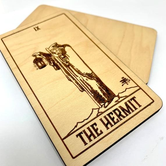 09 The Hermit - Wood Tarot Card, Tarot Cards Tarot Deck Spiritual Gifts Home Decor Gift for Friend Metaphysical Art for Altar Sacred