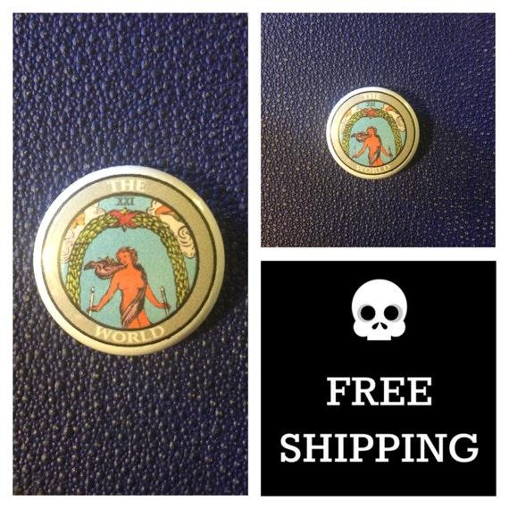 Tarot Card - The World Button Pin, FREE SHIPPING