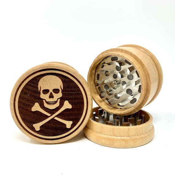 Pirate Flag Skull & Crossbones - Herb Grinder Weed Grinders Tobacco Spices 3 piece all wood set with sharp blades and sieve FREE SHIPPING