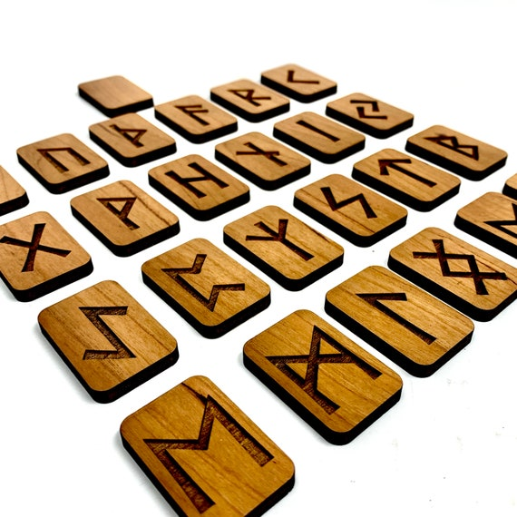 Norse Runes, Engraved Wood for Rune Reading, Full Set: FREE SHIPPING