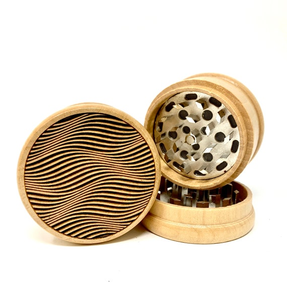 Dune Optical Illusion Design - Herb Grinder Weed Grinders Tobacco Spices 3 piece all wood set with sharp blades and sieve FREE SHIPPING