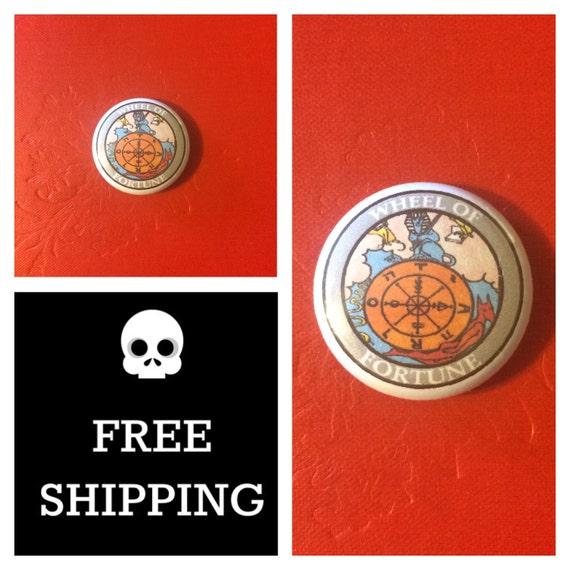 Tarot Card - Wheel of Fortune Button Pin, FREE SHIPPING