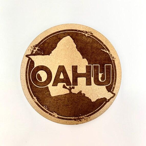 Drink Coasters - Oahu Island Hawaiian Wood Drink Coaster Set Home Decor Unique Gifts Housewarming Gift