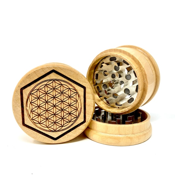 Flower of Life Sacred Geometry - Herb Grinder Weed Grinders Tobacco Spices 3 piece all wood set with sharp blades and sieve FREE SHIPPING