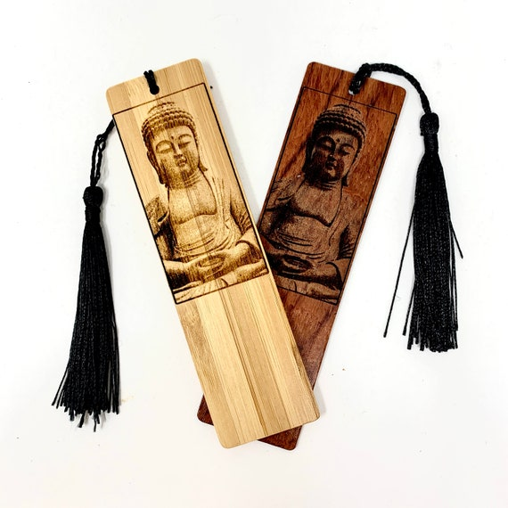 Wood Bookmark - Buddha Statue - Bookmarks Bamboo or Rosewood, Engraved Real Wood Gift for Students or Friend