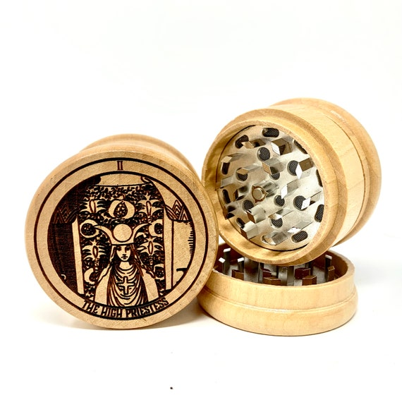 02 Tarot Deck Card - The High Priestess - Herb Grinder Weed Grinders Tobacco Spices 3 piece all wood set sharp blades w/ sieve FREE SHIPPING