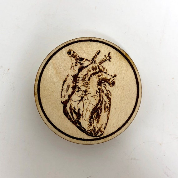 Wood Magnet - Anatomical Heart; Hipster Design, FREE SHIPPING