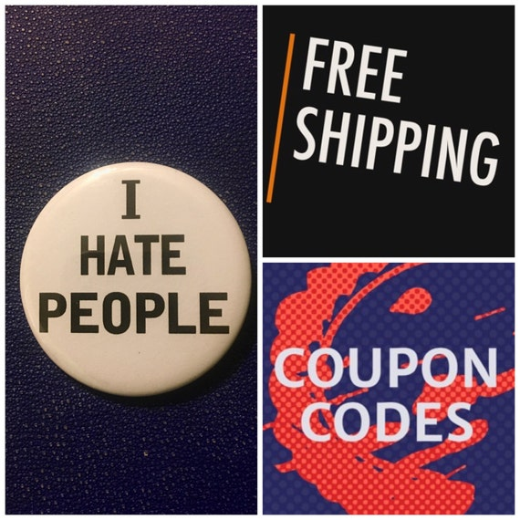 I Hate People Button Pin, FREE SHIPPING