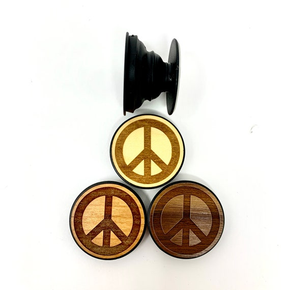 Hippie Peace Sign Cell Phone Holder Grip Socket, Real Wood Top w/ strong 3M adhesive base, FREE SHIPPING
