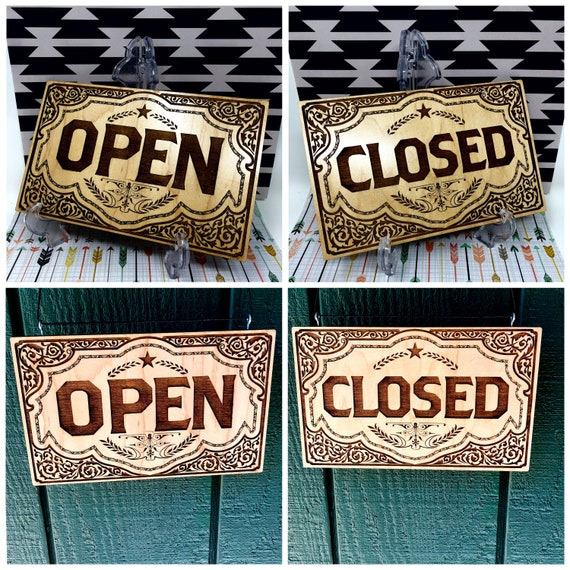 Open / Closed Hipster Store Sign, double sided, laser cut & engraved, FREE SHIPPING
