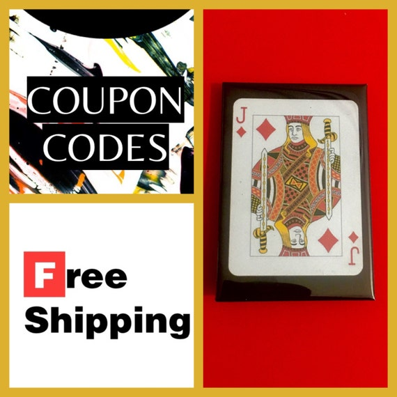 """Jack of Diamonds Playing Card 2x3"""" Button Pin or Magnet, FREE SHIPPING"""