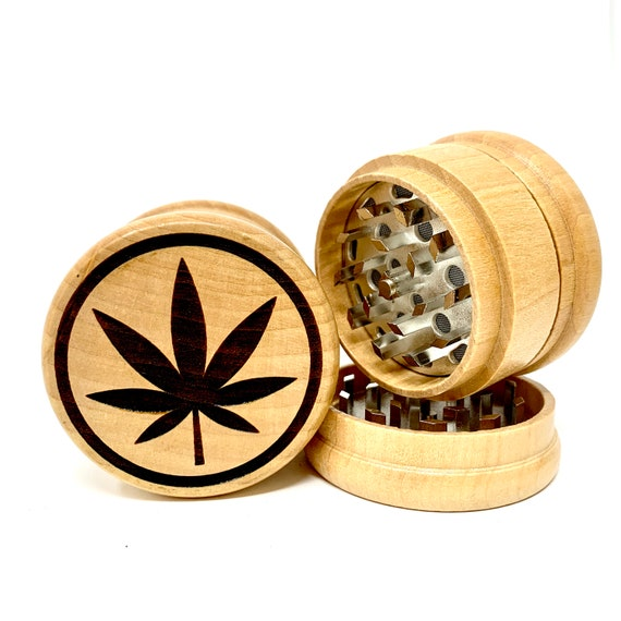 Marijuana Pot Leaf Design - Herb Grinder Weed Grinders Tobacco Spices 3 piece all wood set with sharp blades and sieve FREE SHIPPING
