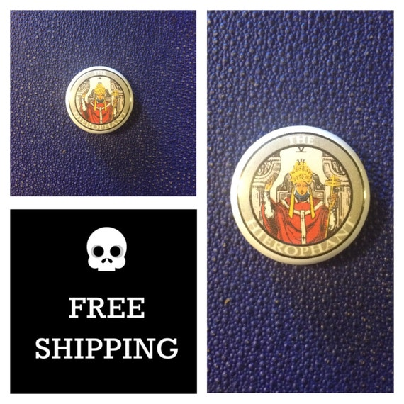 Tarot Card - The Hierophant Button Pin, FREE  SHIPPING