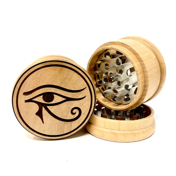 Eye of Horus Egyptian Design - Herb Grinder 3pc Grinders Tobacco Spices 3 piece all wood set with sharp blades and sieve FREE SHIPPING