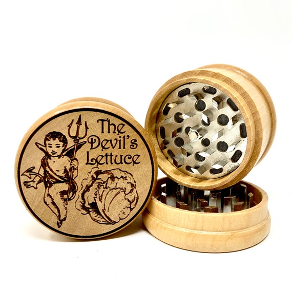 Devil's Lettuce Design - Herb Grinder Weed Grinders Tobacco Spices 3 piece all wood set with sharp blades and sieve FREE SHIPPING