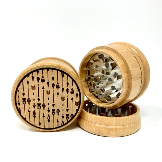 Boho Arrows Art Pattern - Herb Grinder Weed Grinders Tobacco Spices 3 piece all wood set with sharp blades and sieve FREE SHIPPING