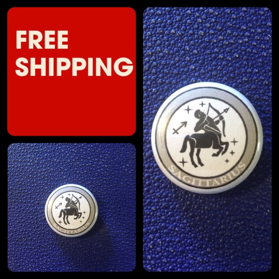 Sagittarius Astrology Sign, Zodiac Button Pin, FREE SHIPPING